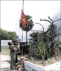 LTTE flag being hoisted in Elephant Pass