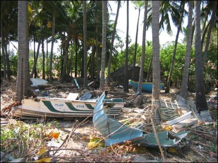 Boats devastated by tsunami