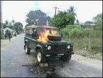 Burning vehicle