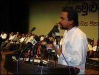 JVP's Wimal Veerawanse speaking at the event