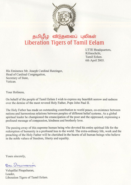 LTTE leader's message