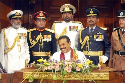 The Sri Lankan President Mahinda Rajapaksa with the military commanders