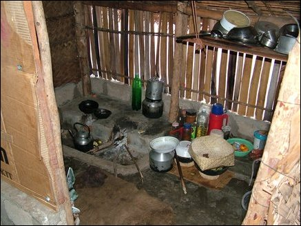 Kitchen part of the temporary hut