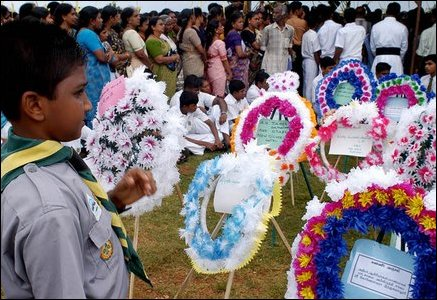Trincomalee Sri Koneswara Hindu College grounds where the bodies were placed on the open-air stage for public viewing