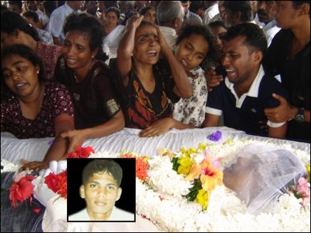 Funeral at the house of Yogarajah Hemachandran