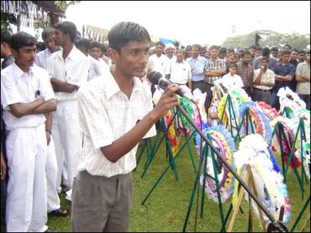 Fellow student T. Arunmaran addressing the mourners