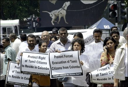 Protest against police expulsion of Tamils