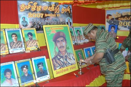 LTTE Leader V. Pirapaharan commemorating war heroes at an undisclosed location in Vanni on November