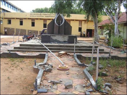 Destroyed memorial in front of Kailasapathy Hall at the Univeristy of Jaffna