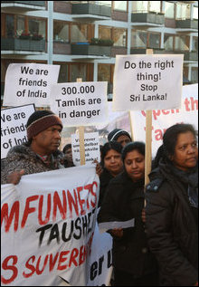 Norwegian Tamils call for attention in front of Indian Embassy