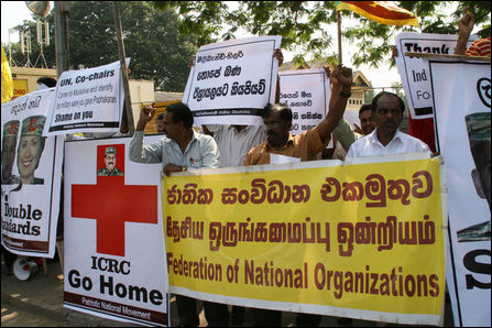 PNM protests in Colombo against ICRC, USA, UK