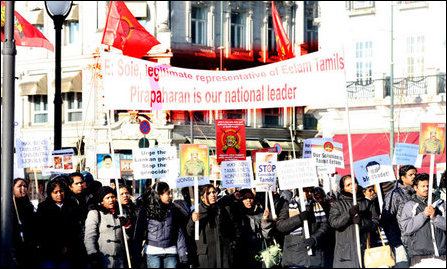 Demonstration in front of Norway parliament