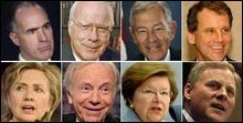 Signatories and Hilary Clinton (clockwise: Robert P. Casey, Jr., Patrick Leahy, George V. Voinovich,