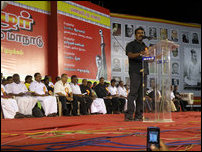 Seeman addressing the gathering