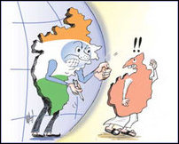 A cartoon that appeared in Sri Lankan press