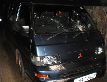 JVP vehicle smashed in Jaffna