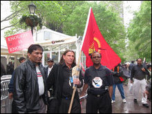 Prof. Glenn T. Morris (with the flag in hand) at the UN protest rally