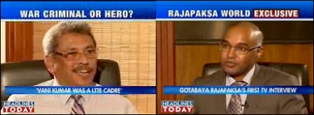 Gotabhaya Rajapaksa [Left] interviewed by Rajesh Sundaram of Headlines Today