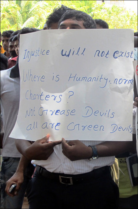 Students of University of Jaffna protest against SL grease devil attacks