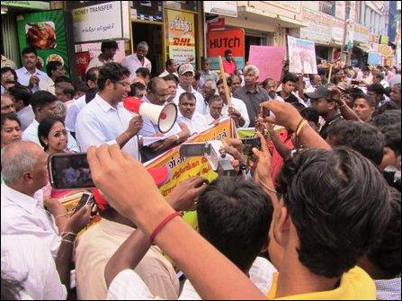 Demonstrators in Jaffna demand immediate release of detained students