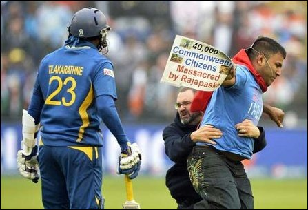 Tamils protest against Sri Lanka cricket in UK