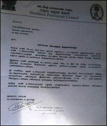 NPC Councillor T. Ravikaran's letter to NPC CM, dated 05 January 2016
