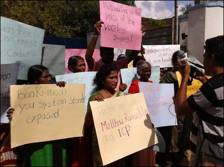 NPC Councillor, missing persons families protest in front of UN office in Jaffna