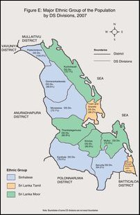 Ethnic pattern of administrative divisions in Trincomalee district