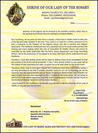 Letter by Administrator of Shrine of Our Lady of Madu to SL President, dated 21 October, 2017
