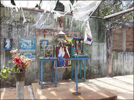 Makeshift church of Jebamalai maathaa