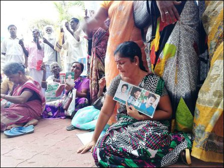 Families of enforced disappeared denounce OMP in Jaffna