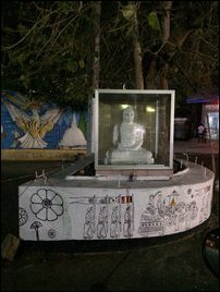 Buddha statue placed near private bus stand in Trincomalee city