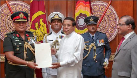 SL President Maithiripala Sirisena appoints Shavendra Silva as the commander of the SLA after promot