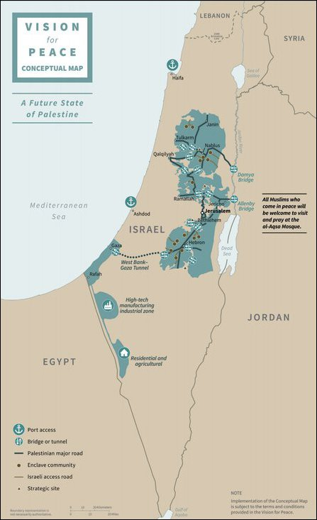 Proposed map in the US-Israeli plan