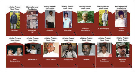 Some of the key persons among the Eezham Tamils subjected to enforced disappearances at the hands of